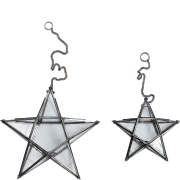 Nkuku Small Glass Hanging Star - Antique Zinc