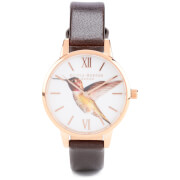 Olivia Burton Woodland Hummingbird Watch - Chocolate and Rose Gold