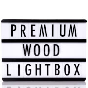 A4 Premium Wood Black Cinematic Lightbox Including 85 Black Letters, Numbers and Symbols
