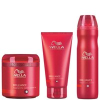 Wella Professionals Brilliance Trio for Coarse Coloured Hair- Shampoo, Conditioner & Treatment