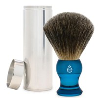 Brocha de afeitar de pelo de tejón y funda de viaje eShave (azul)