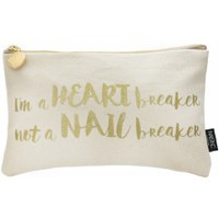nails inc. Slogan 'I'm a Heart Breaker not a Nail Breaker' Canvas Cosmetic Bag - Pink