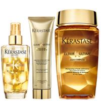 Kérastase Elixir Ultime Huile Lavante Bain 250ml, Crème Fine 150ml and Fine Hair Oil 100ml Bundle