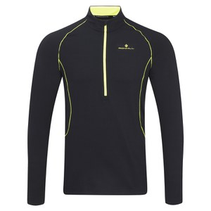 RonHill Men's Base Thermal 200 1/2 Zip T-Shirt - Black/Fluorescent Yellow