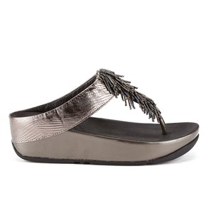 FitFlop Women's Cha Cha Leather/Suede Tassel Toe Post Sandals - Nimbus Silver