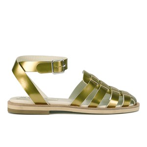 Jil Sander Navy Women's Leather Strappy Ankle Strap Sandals - Gold