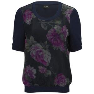 VILA Women's Anna Floral Top - Black Iris