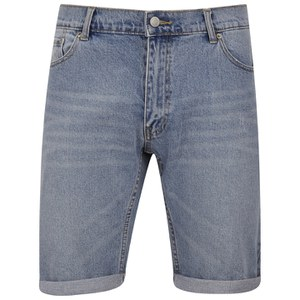 Cheap Monday Men's 'High Cut' Denim Shorts with Fold-Up - Sky
