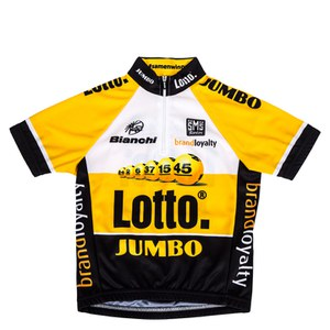 Santini Lotto 2015 Leaders Kids' Short Sleeve Jersey - Black/Yellow
