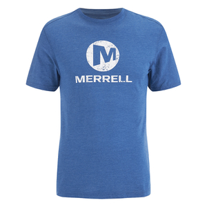 Merrell Men's Vintage Stacked Logo T-Shirt - Tahoe Heather Blue