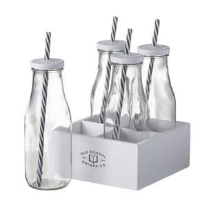 Parlane Milk Bottles with Straws (Set of 4)