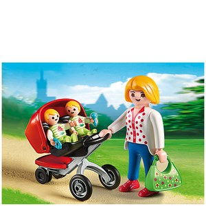 Playmobil Pre-School Mother with Twin Stroller (5573)