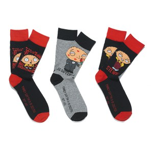Family Guy Men's 3 Pack Socks - Black/Red