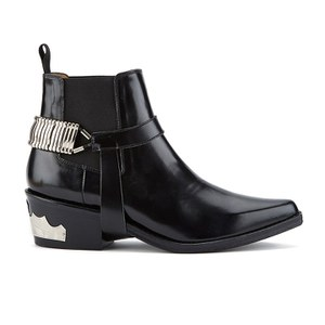 Toga Pulla Women's Chain Front Heeled Chelsea Boots - Black Polido