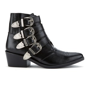 Toga Pulla Women's Buckle Side Leather Heeled Ankle Boots - Black Leather