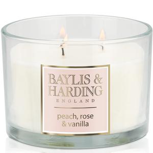 Baylis & Harding Mosaic Peach, Rose and Vanilla 3 Wick Candle