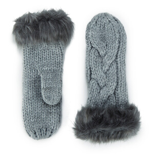 ONLY Women's Allison Knit Mittens - Light Grey Melange