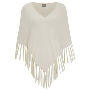 Vero Moda Women's Annabelle Fringe Poncho Jumper - Antique White