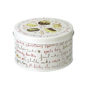 Parlane Christmas Cake Tin - White (120x225mm)