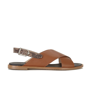 HUGO Women's Valenteen Snake Print Leather Crossover Sandals - Light/Pastel Brown