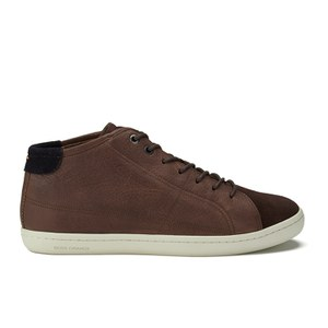 BOSS Orange Men's Soundmid Leather Hi-Top Trainers - Medium Brown