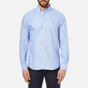 Tommy Hilfiger Men's Plain Oxford Long Sleeve Shirt - Blue