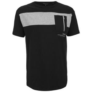 Crosshatch Men's Longline Blockhead T-Shirt - Black