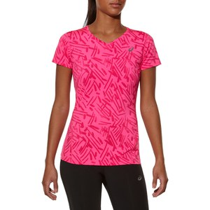 Asics Women's Allover Graphic Running T-Shirt - Pink Glow Palm