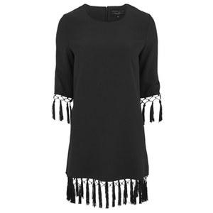 Lavish Alice Women's Tassel Hem Shift Dress - Black