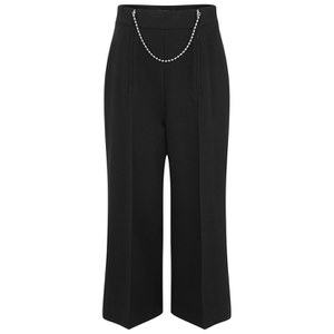 Alexander Wang Women's Wide Leg Pants with Inserted Ballchain Zippers - Nocturnal