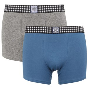 Le Shark Men's 2 Pack Checked Waistband Boxers - Blue Bird/Grey Marl
