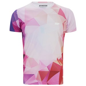 T-Shirt per Allenamento Stampata Geometrica da Uomo, Rosa