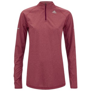 adidas Women's Sequencials 1/4 Zip Long Sleeve Running Top - Red