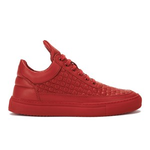 Filling Pieces Men's Quilted Circles Low Top Trainers - Red
