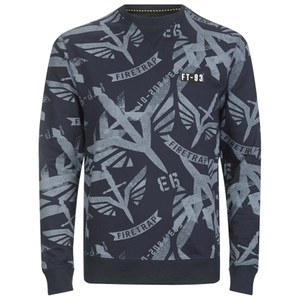 Firetrap Men's Sudrey All Over Printed Sweatshirt - Midnight