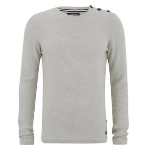 Produkt Men's HNN Buttoned Crew Neck Jumper - Cloud Dancer