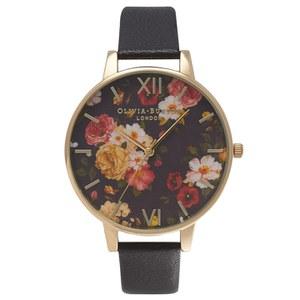 Olivia Burton Women's Winter Garden Watch - Black/Gold