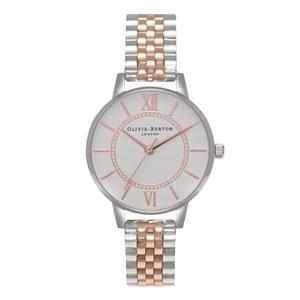 Olivia Burton Women's Wonderland Mix Bracelet Watch - Silver/Rose Gold
