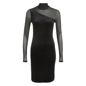 Ganni Women's Sheer Panel Dress - Black