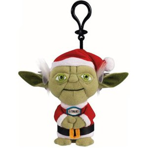 Star Wars Santa Yoda Talking Plush Clip On