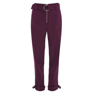 Lavish Alice Women's D-Ring Belt and Cuff Tapered Leg Trousers - Aubergine
