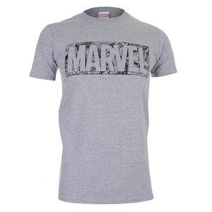 Marvel Strip Logo Herren T-Shirt - Grau