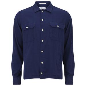 GANT Rugger Men's Slub Flannel Army Long Sleeve Shirt - Thunder Blue