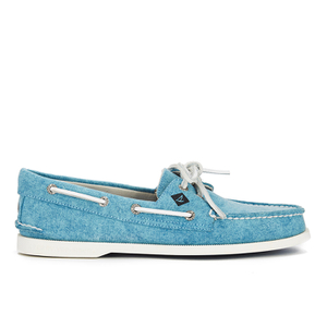 Sperry Men's A/O 2-Eye White Cap Canvas Boat Shoes - Turquoise