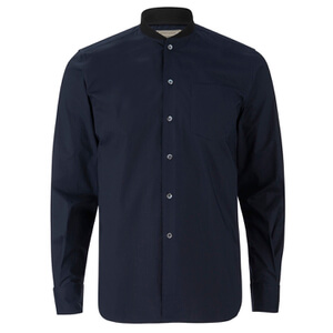 Maison Kitsuné Men's Rib James Long Sleeve Shirt - Dark Navy