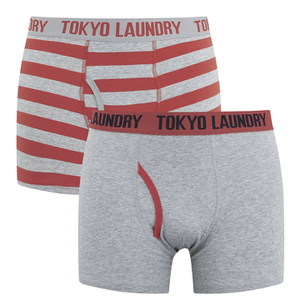 Tokyo Laundry Men's Chicksand 2 Pack Striped Boxers - Paprika/Light Grey Marl