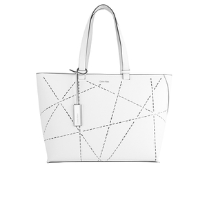 Calvin Klein Women's Sofie Perforated Large Saffiano Tote Bag - Arctic White