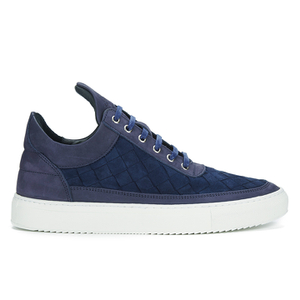 Filling Pieces Men's Woven Gradient Low Top Suede Trainers - Navy