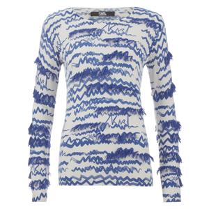 Karl Lagerfeld Women's Fringe Squiggle Sweatshirt - Blue