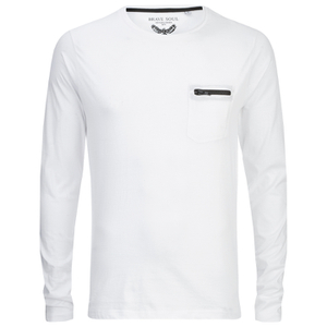 Brave Soul Men's Wolfgang Zip Pocket Long Sleeve Top - White